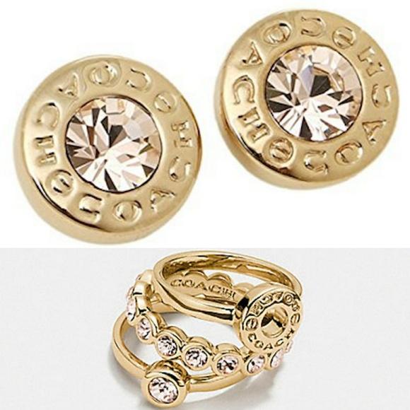 Coach Jewelry - PRICE DROP Coach Open Circle Gold Ring/Earring Set